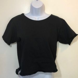 Madewell Black Cotton Fringe Crop Top Size Small